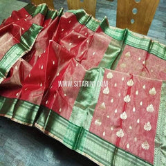 Chanderi Tissue Silk Saree-Red-Sitarini-SITCSS153