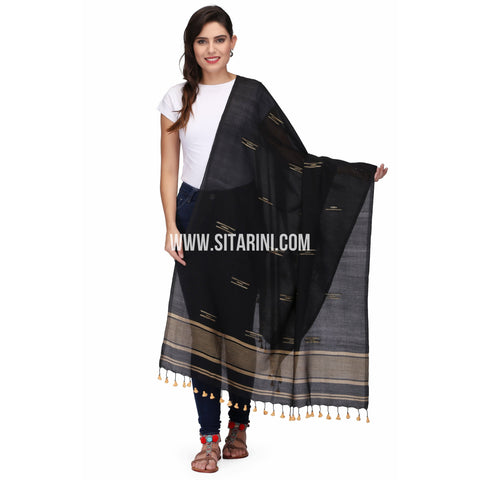 Cotton Dupatta cum Stole with Pom Pom Endings-Black-Sitarini-LWTCD132