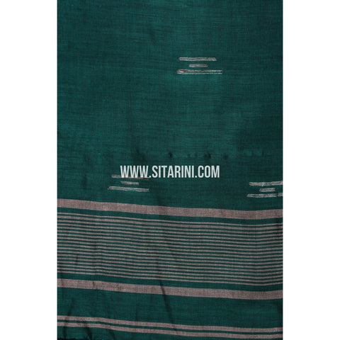 Cotton Dupatta cum Stole with Pom Pom Endings-Green-Sitarini-LWTCD130
