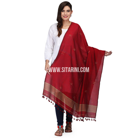 Cotton Dupatta cum Stole with Pom Pom Endings-Red-Sitarini-LWTCD129