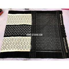 Cotton Ikkat Sarees-White and Black-Sitarini-PRRHICS117