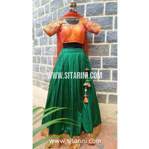 Designer Lehenga-Bottle Green and Orange-Sitarini-SDL102