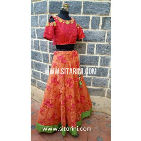 Designer Lehenga-Peach and Dark Pink-Sitarini-SDL103