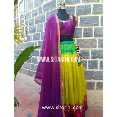 Designer Lehenga-Yellow and Purple-Sitarini-SDL100