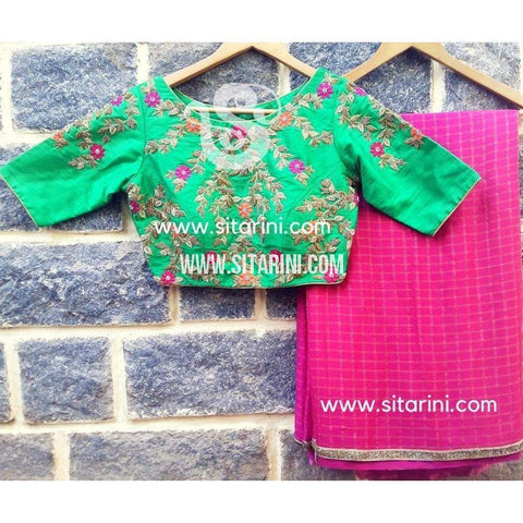 Designer Saree-Pink and Pista Green-Sitarini-SDS100