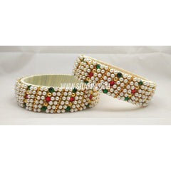 Designer Silk Thread Bangles-Off White-Set of 2-Sitarini-STB120