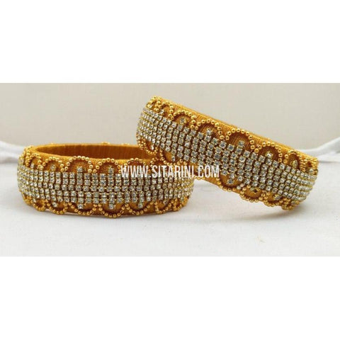 Designer Silk Thread Bangles-Yellow-Set of 2-Sitarini-STB124