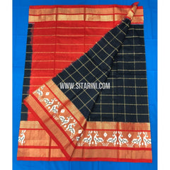 Elder's Ikkat Lehanga-Black and Orange-Sitarini-PHHIPLM118