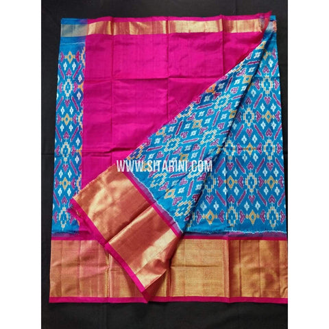Elder's Ikkat Lehanga-Blue and Pink-Sitarini-PRHIPLE101