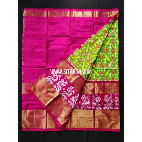 Elder's Ikkat Lehanga-Green and Pink-Sitarini-PRHIPLE109