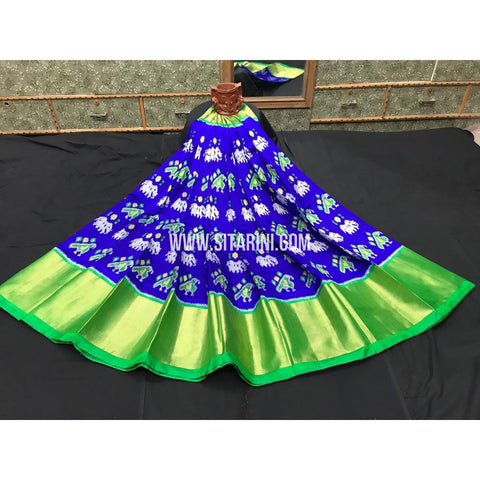 Elders Ikkat Lehenga-Pattu-Blue and Green-Sitarini-SITEIL263