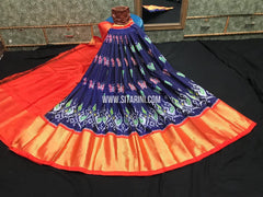 Elders Ikkat Lehenga-Pattu-Blue and Orange-Sitarini-SITEIL1244