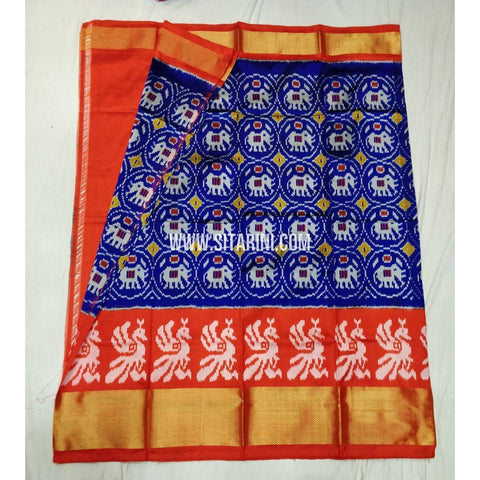 Elders Ikkat Lehenga-Pattu-Blue and Orange-Sitarini-SITEIL131