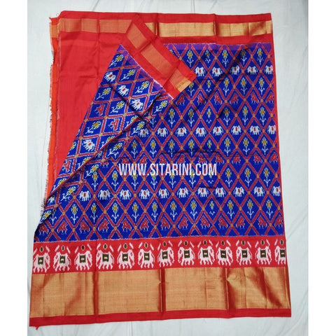 Elders Ikkat Lehenga-Pattu-Blue and Orange-Sitarini-SITEIL195