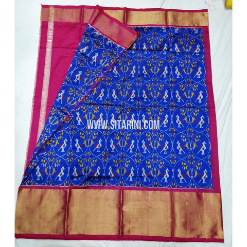 Elders Ikkat Lehenga-Pattu-Blue and Pink-Sitarini-SITEIL122