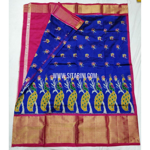 Elders Ikkat Lehenga-Pattu-Blue and Pink-Sitarini-SITEIL127