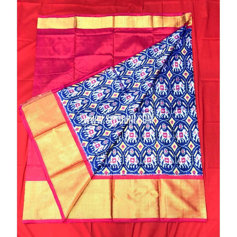 Elders Ikkat Lehenga-Pattu-Blue and Pink-Sitarini-SITEIL163