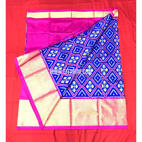 Elders Ikkat Lehenga-Pattu-Blue and Pink-Sitarini-SITEIL169