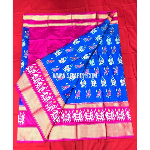 Elders Ikkat Lehenga-Pattu-Blue and Pink-Sitarini-SITEIL170