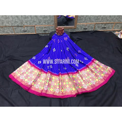 Elders Ikkat Lehenga-Pattu-Blue and Pink-Sitarini-SITEIL257