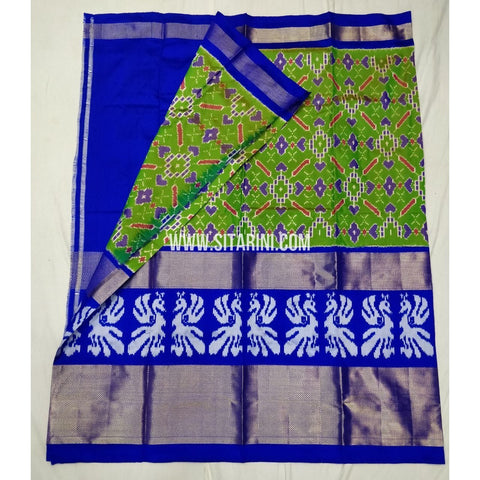 Elders Ikkat Lehenga-Pattu-Green and Blue-Sitarini-SITEIL182
