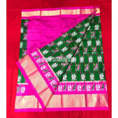 Elders Ikkat Lehenga-Pattu-Green and Pink-Sitarini-SITEIL158