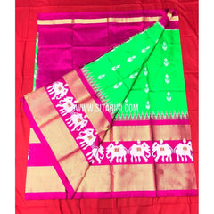 Elders Ikkat Lehenga-Pattu-Green and Pink-Sitarini-SITEIL171