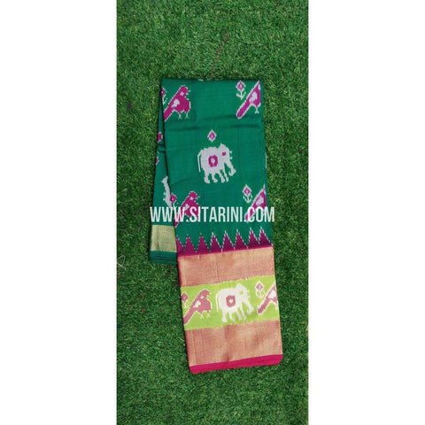 Elders Ikkat Lehenga-Pattu-Green and Pink-Sitarini-SITEIL198