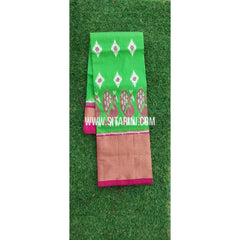 Elders Ikkat Lehenga-Pattu-Green and Pink-Sitarini-SITEIL227