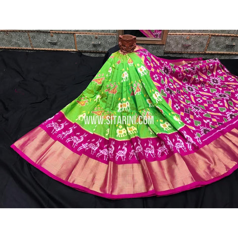 Elders Ikkat Lehenga-Pattu-Green and Pink-Sitarini-SITEIL249