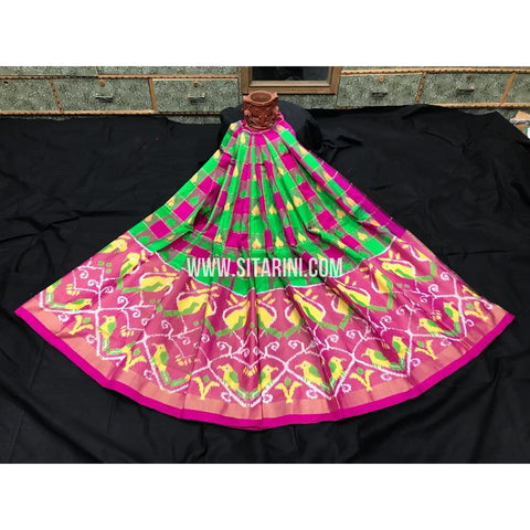 Elders Ikkat Lehenga-Pattu-Green and Pink-Sitarini-SITEIL258