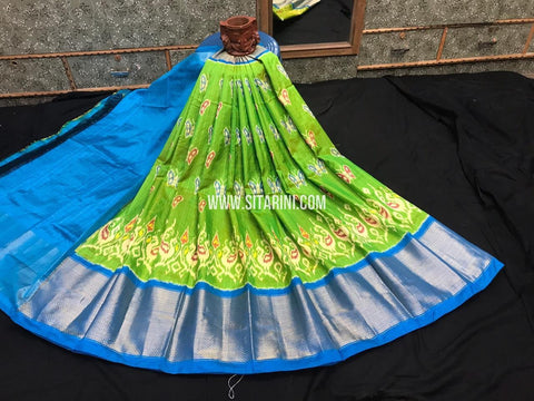 Elders Ikkat Lehenga-Pattu-Green and Skyblue-Sitarini-SITEIL1242