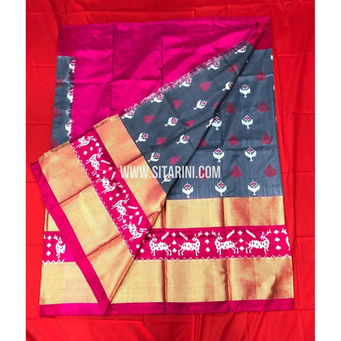 Elders Ikkat Lehenga-Pattu-Grey and Pink-Sitarini-SITEIL156