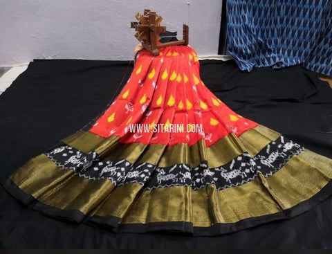 Elders Ikkat Lehenga-Pattu-Orange and black-Sitarini-SITEIL1246