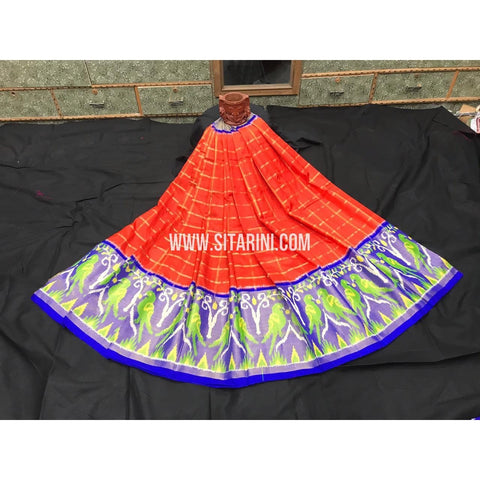 Elders Ikkat Lehenga-Pattu-Orange and Blue-Sitarini-SITEIL255