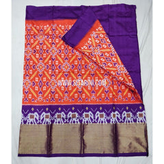 Elders Ikkat Lehenga-Pattu-Orange and Purple-Sitarini-SITEIL185