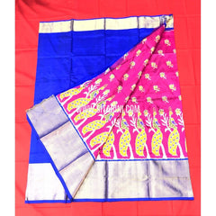 Elders Ikkat Lehenga-Pattu-Pink and Blue-Sitarini-SITEIL150