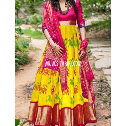Elders Ikkat Lehenga-Pattu-Pink and Yellow-Sitarini-SITEIL178