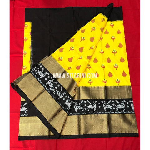 Elders Ikkat Lehenga-Pattu-Yellow and Black-Sitarini-SITEIL147