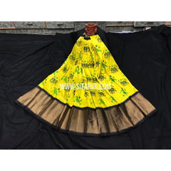 Elders Ikkat Lehenga-Pattu-Yellow and Black-Sitarini-SITEIL248