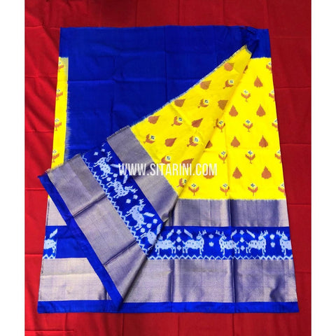 Elders Ikkat Lehenga-Pattu-Yellow and Blue-Sitarini-SITEIL143