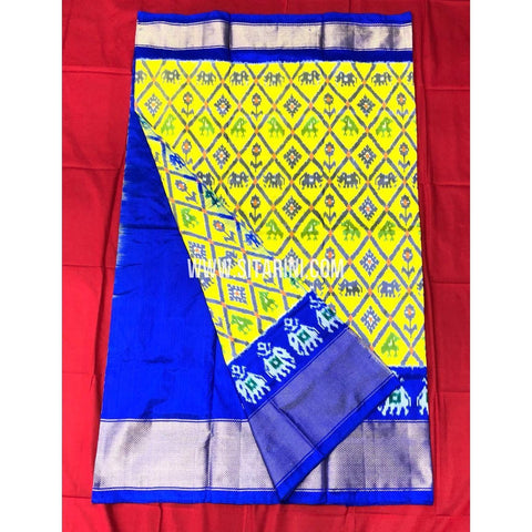 Elders Ikkat Lehenga-Pattu-Yellow and Blue-Sitarini-SITEIL172