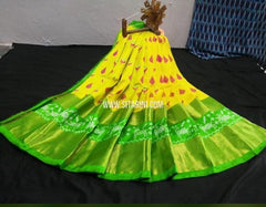 Elders Ikkat Lehenga-Pattu-Yellow and Green-Sitarini-SITEIL1247