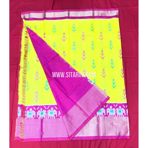 Elders Ikkat Lehenga-Pattu-Yellow and Pink-Sitarini-SITEIL157