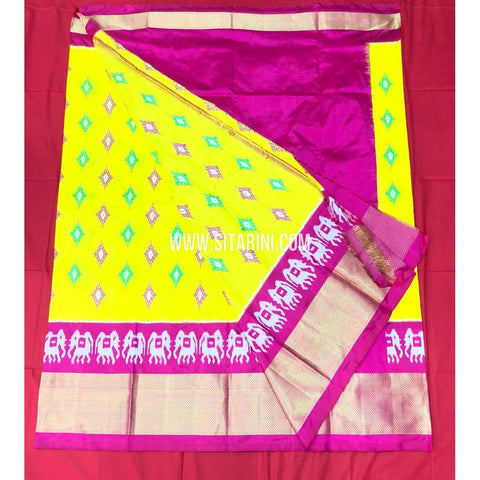 Elders Ikkat Lehenga-Pattu-Yellow and Pink-Sitarini-SITEIL162