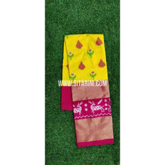 Elders Ikkat Lehenga-Pattu-Yellow and Pink-Sitarini-SITEIL201