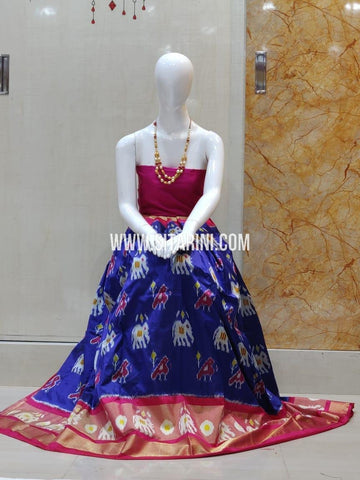 Elder's Ikkat Lehenga-Silk-Pink and Blue-Sitarini-SITEIL1261