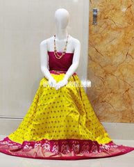 Elder's Ikkat Lehenga-Silk-Pink and Yellow-Sitarini-SITEIL1263