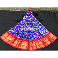 Elder's Ikkat lehenga with Kanchi Border-Blue and red-Sitarini-PGMHIPS271