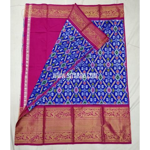 Elders Ikkat Lehenga with Kanchi Border-Pattu-Blue and Pink-Sitarini-SITEIL240